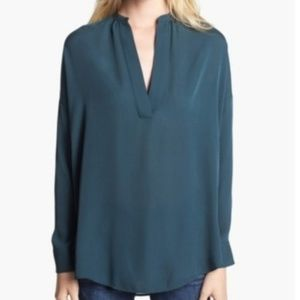 Vince popover long sleeve tunic blouse100% silk